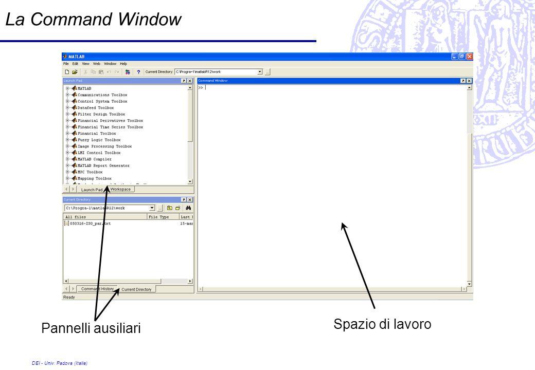 DEI - Univ. Padova (Italia) La Command Window Spazio di lavoro Pannelli ausiliari