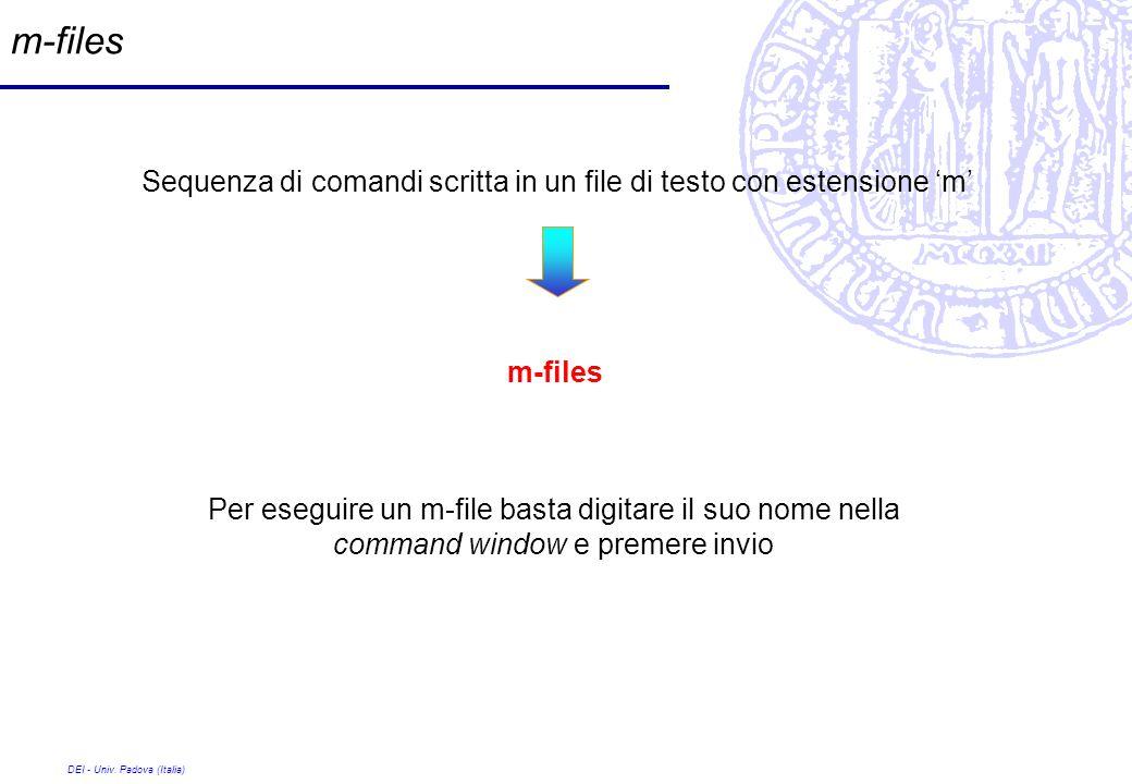 DEI - Univ. Padova (Italia) m-files Sequenza di comandi scritta in un file di testo con estensione m m-files Per eseguire un m-file basta digitare il