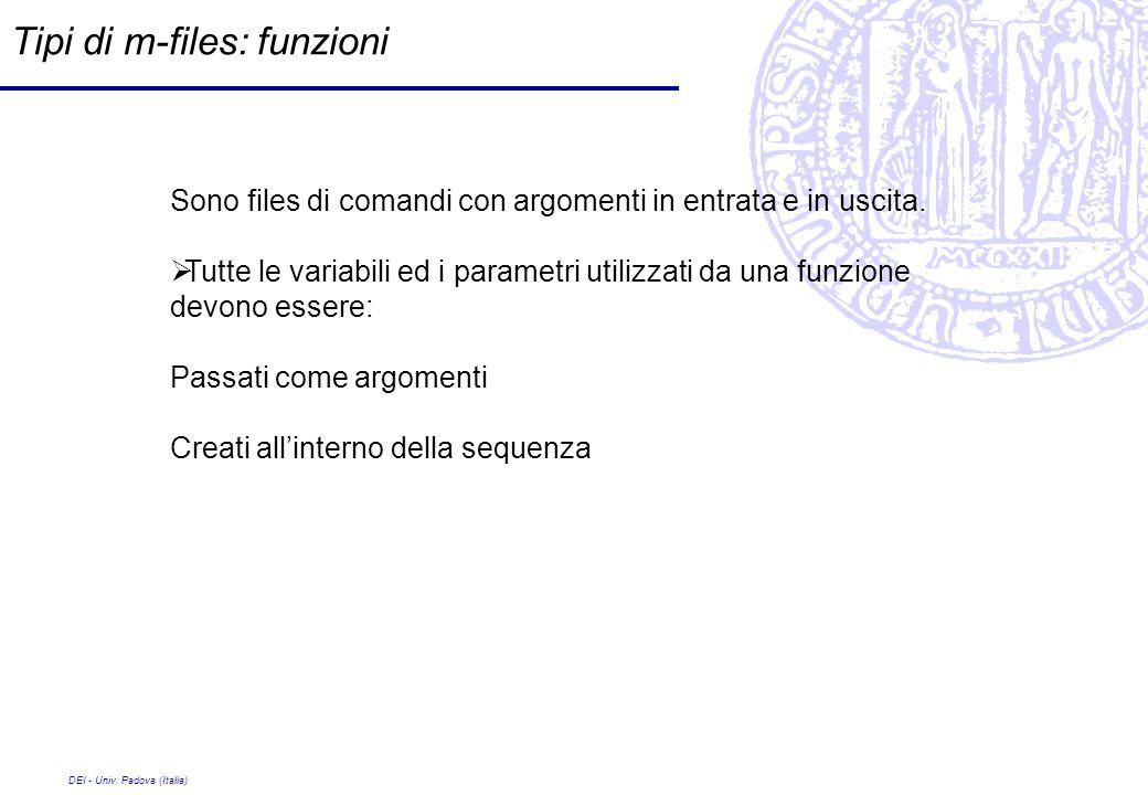 DEI - Univ. Padova (Italia) Tipi di m-files: funzioni Sono files di comandi con argomenti in entrata e in uscita. Tutte le variabili ed i parametri ut