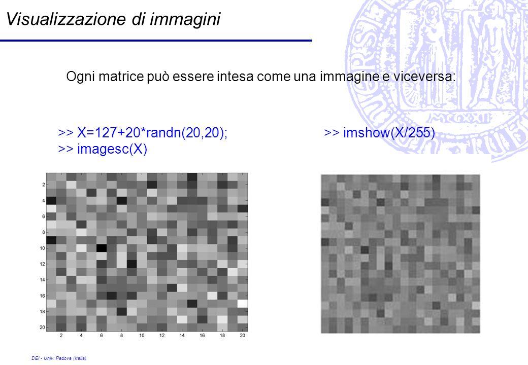DEI - Univ. Padova (Italia) Visualizzazione di immagini Ogni matrice può essere intesa come una immagine e viceversa: >> X=127+20*randn(20,20); >> ima