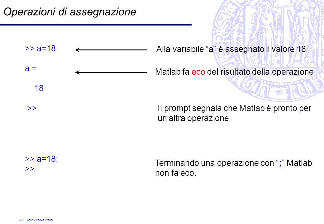 DEI - Univ. Padova (Italia) Operazioni di assegnazione >> a=18 a = 18 >> Alla variabile a è assegnato il valore 18 Matlab fa eco del risultato della o