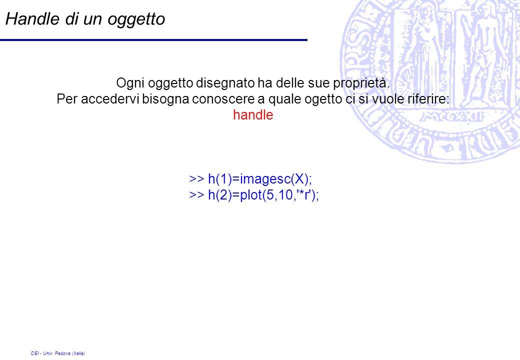 DEI - Univ. Padova (Italia) Handle di un oggetto Ogni oggetto disegnato ha delle sue proprietà. Per accedervi bisogna conoscere a quale ogetto ci si v