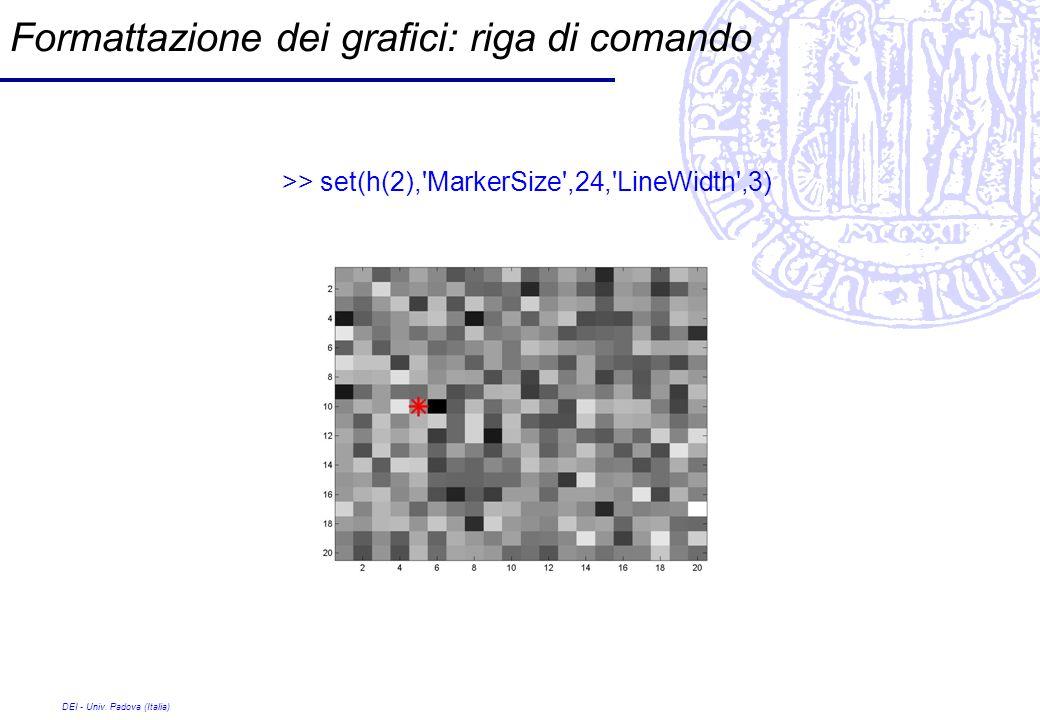 DEI - Univ. Padova (Italia) Formattazione dei grafici: riga di comando >> set(h(2),'MarkerSize',24,'LineWidth',3)