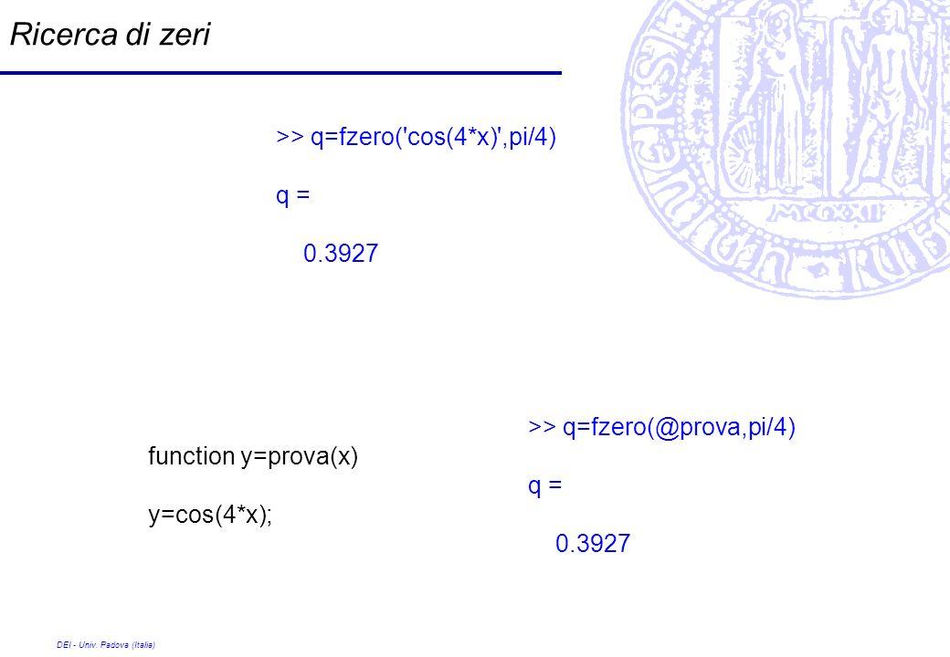 DEI - Univ. Padova (Italia) Ricerca di zeri >> q=fzero('cos(4*x)',pi/4) q = 0.3927 function y=prova(x) y=cos(4*x); >> q=fzero(@prova,pi/4) q = 0.3927