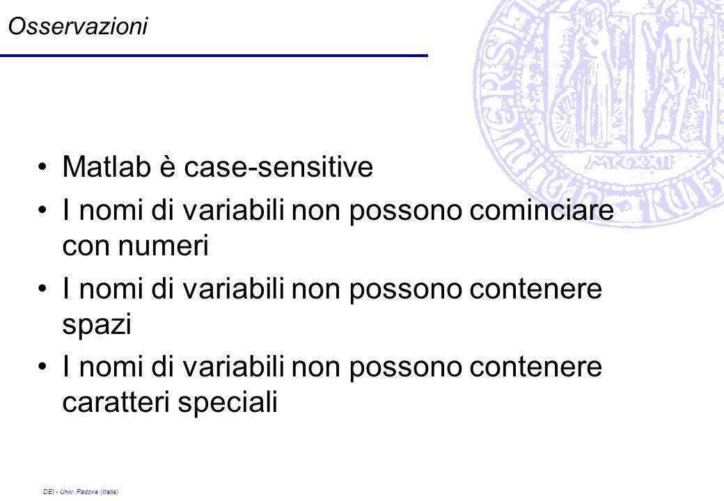 DEI - Univ. Padova (Italia) Osservazioni Matlab è case-sensitive I nomi di variabili non possono cominciare con numeri I nomi di variabili non possono