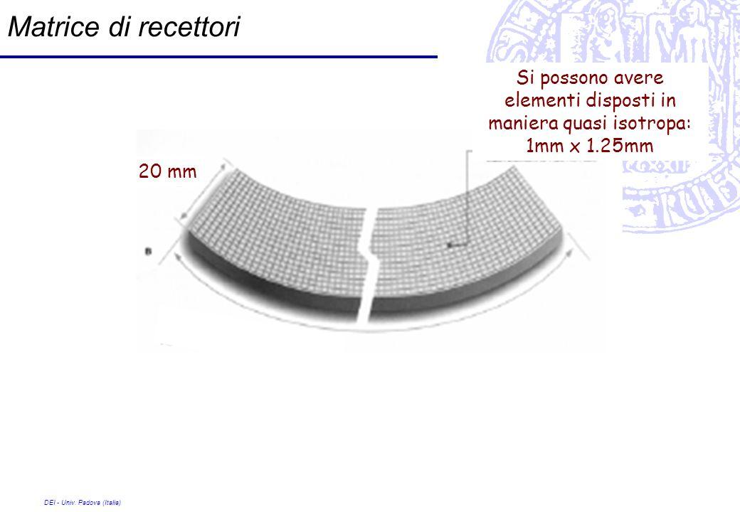 DEI - Univ. Padova (Italia) Matrice di recettori Si possono avere elementi disposti in maniera quasi isotropa: 1mm x 1.25mm 20 mm