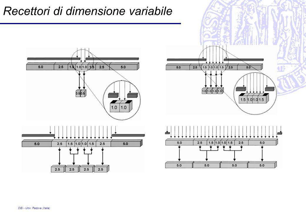 DEI - Univ. Padova (Italia) Recettori di dimensione variabile