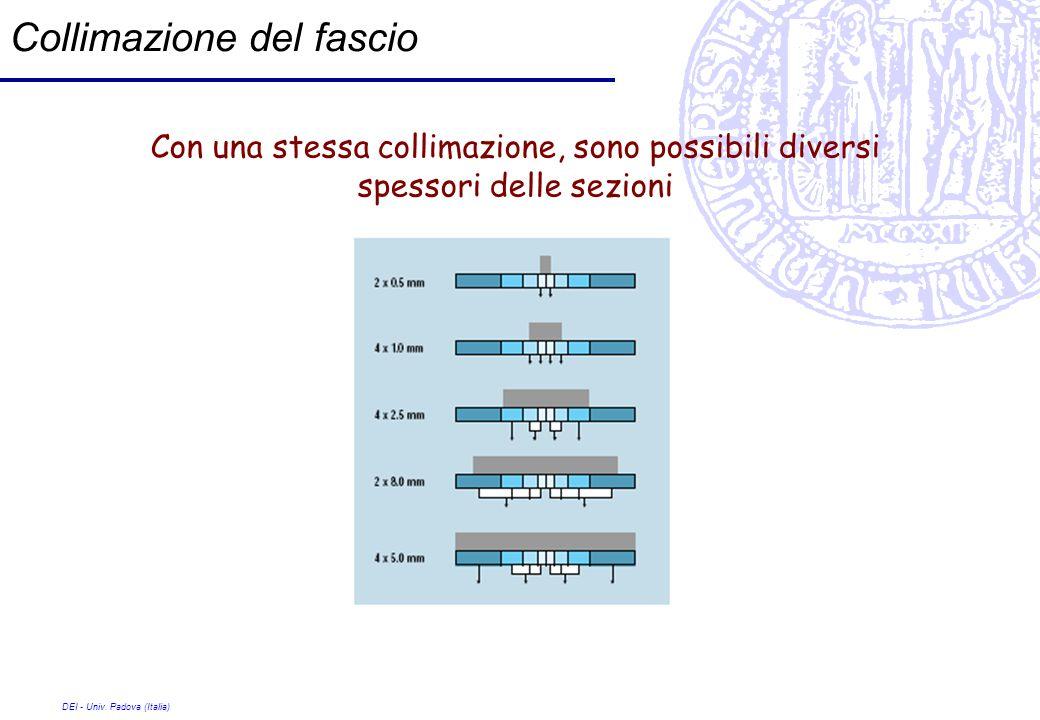 DEI - Univ. Padova (Italia) Collimazione del fascio Con una stessa collimazione, sono possibili diversi spessori delle sezioni