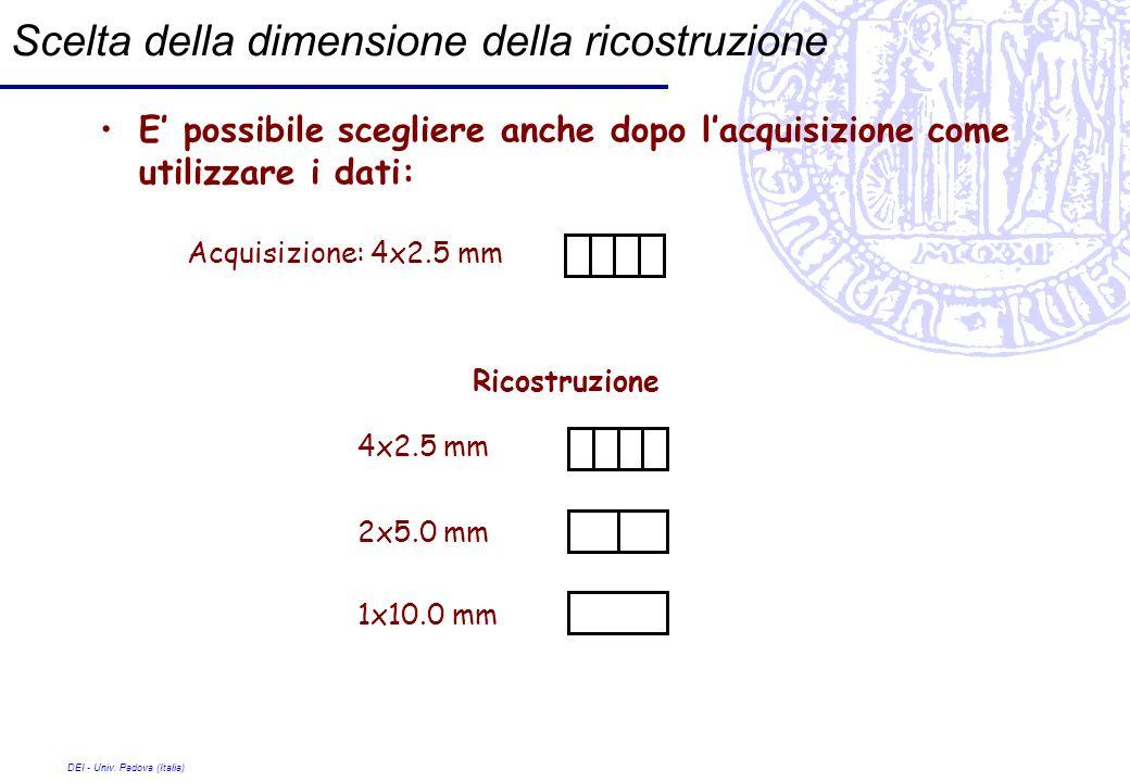 DEI - Univ. Padova (Italia) Scelta della dimensione della ricostruzione E possibile scegliere anche dopo lacquisizione come utilizzare i dati: Acquisi