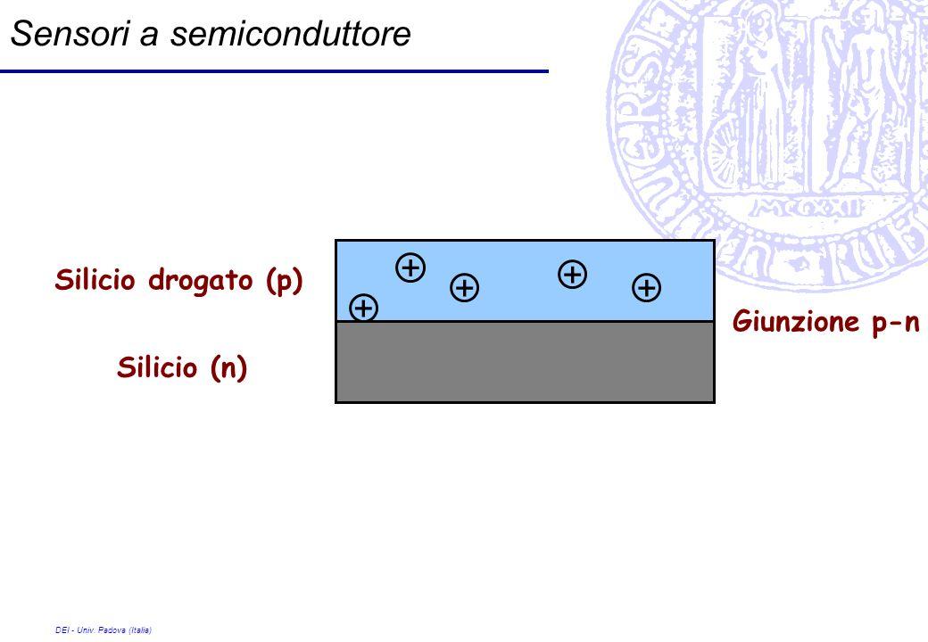DEI - Univ. Padova (Italia) Sensori a semiconduttore Silicio (n) Silicio drogato (p) + + + + + Giunzione p-n