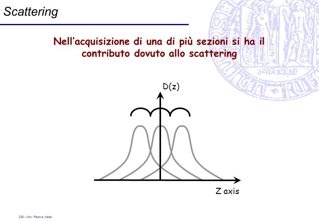 DEI - Univ. Padova (Italia) Scattering Nellacquisizione di una di più sezioni si ha il contributo dovuto allo scattering Z axis D(z)