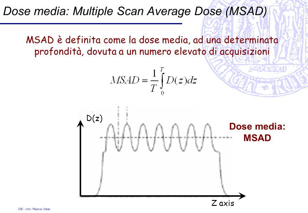DEI - Univ. Padova (Italia) Dose media: Multiple Scan Average Dose (MSAD) Z axis D(z) Dose media: MSAD MSAD è definita come la dose media, ad una dete