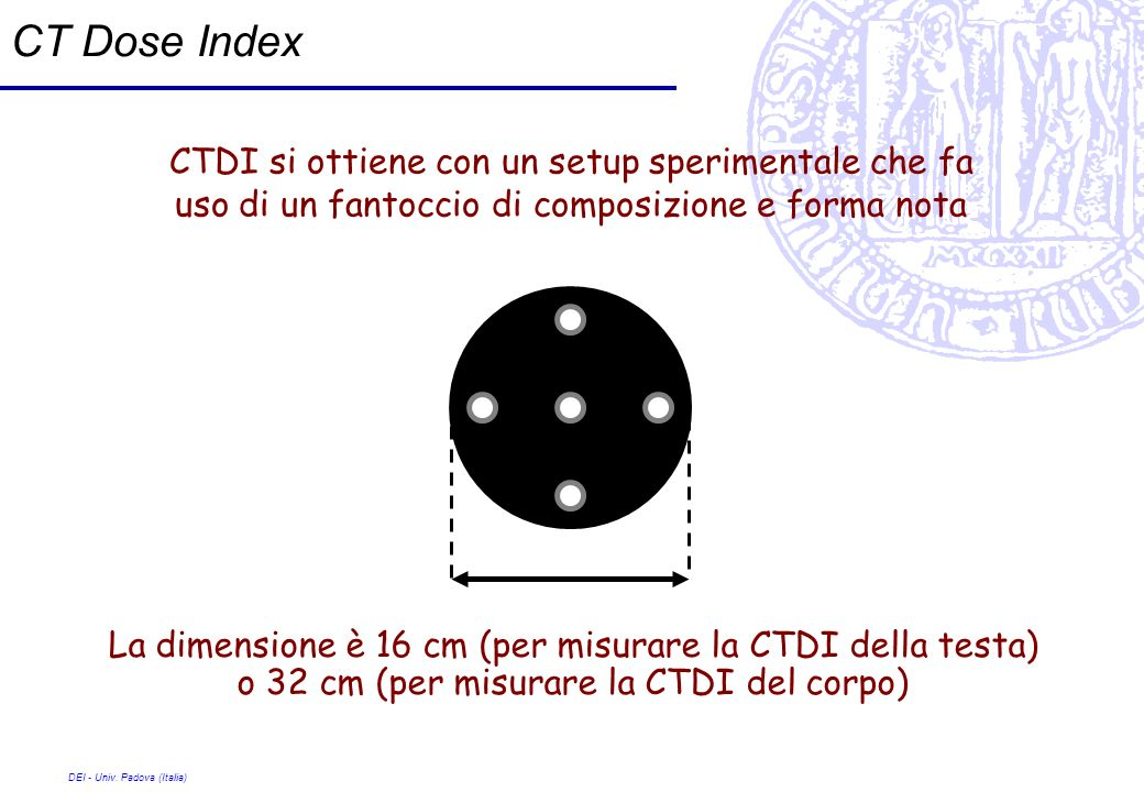 DEI - Univ. Padova (Italia) CT Dose Index CTDI si ottiene con un setup sperimentale che fa uso di un fantoccio di composizione e forma nota La dimensi