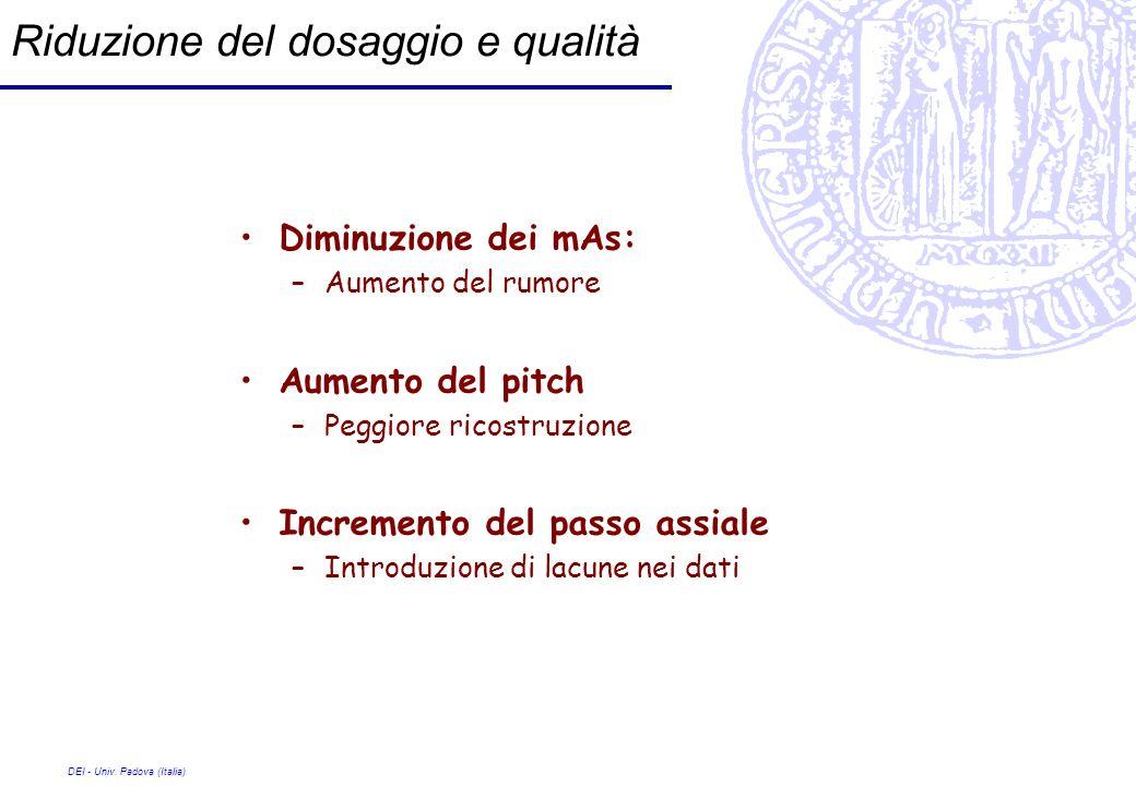 DEI - Univ. Padova (Italia) Riduzione del dosaggio e qualità Diminuzione dei mAs: –Aumento del rumore Aumento del pitch –Peggiore ricostruzione Increm