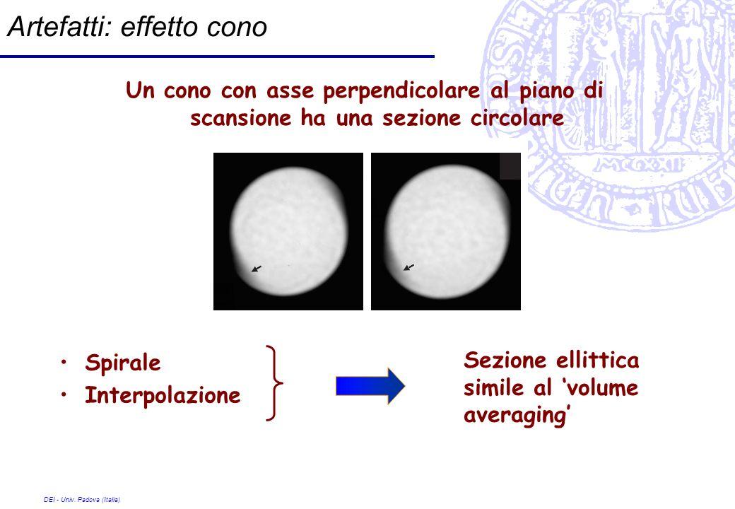 DEI - Univ. Padova (Italia) Artefatti: effetto cono Un cono con asse perpendicolare al piano di scansione ha una sezione circolare Spirale Interpolazi