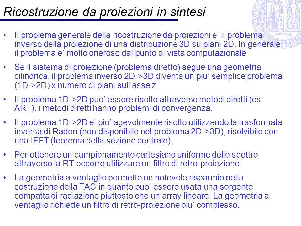 Ricostruzione da proiezioni in sintesi Il problema generale della ricostruzione da proiezioni e il problema inverso della proiezione di una distribuzi