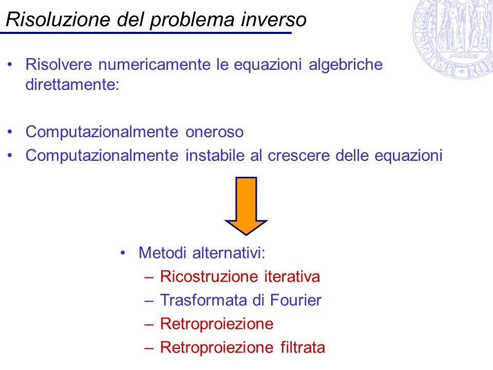 Ricostruzione iterativa Data una stima f*(x,y) di f(x,y) Si calcolano le proiezioni p* (x) Si calcola lerrore p (x)-p* (x) Si aggiorna f*(x,y) Data: proiezione a Stima della proiezione a da f*(x,y) Aggiornamento della stima f*(x,y)