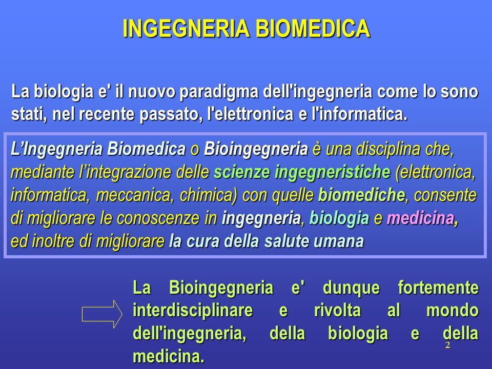 2 La biologia e' il nuovo paradigma dell'ingegneria come lo sono stati, nel recente passato, l'elettronica e l'informatica. INGEGNERIA BIOMEDICA La Bi