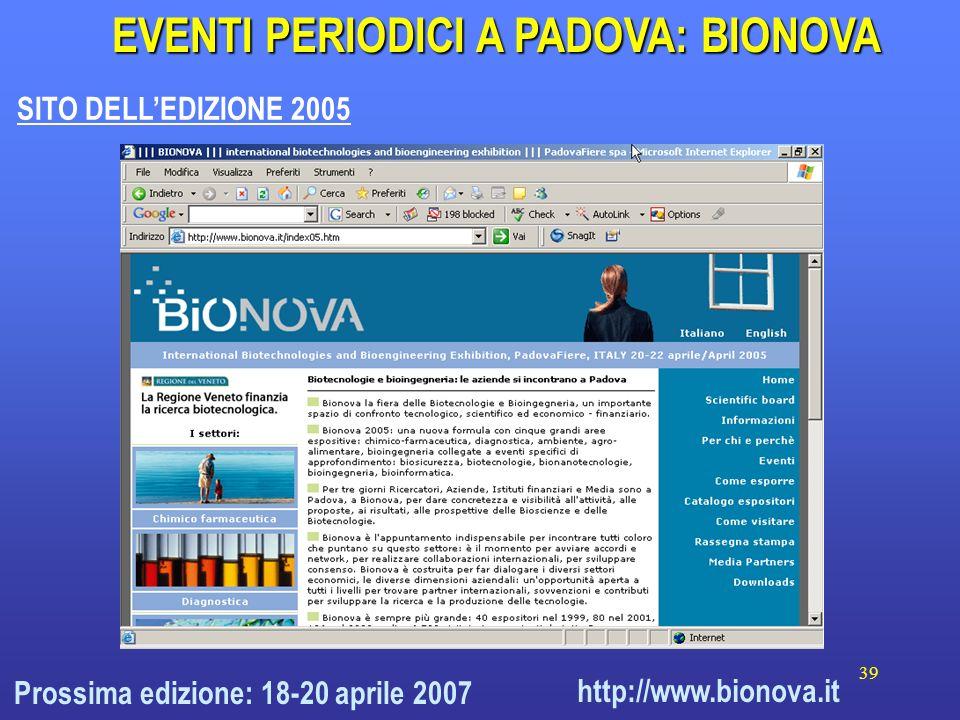 39 http://www.bionova.it EVENTI PERIODICI A PADOVA: BIONOVA SITO DELLEDIZIONE 2005 Prossima edizione: 18-20 aprile 2007