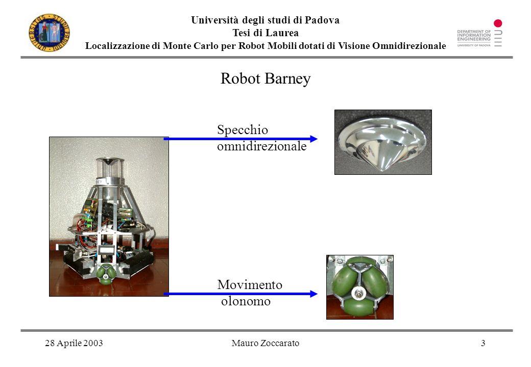 28 Aprile 2003Mauro Zoccarato4 Università degli studi di Padova Tesi di Laurea Localizzazione di Monte Carlo per Robot Mobili dotati di Visione Omnidirezionale Memoria visiva del robot: immagini di riferimento in posizioni note Omnidirezionale vs.