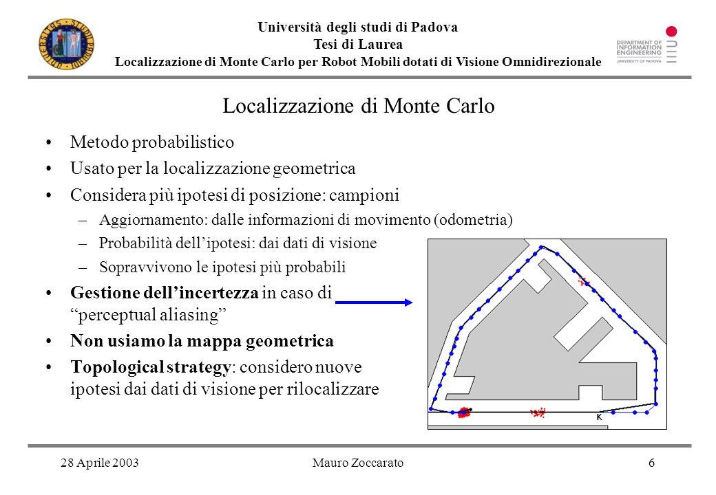 28 Aprile 2003Mauro Zoccarato6 Università degli studi di Padova Tesi di Laurea Localizzazione di Monte Carlo per Robot Mobili dotati di Visione Omnidi