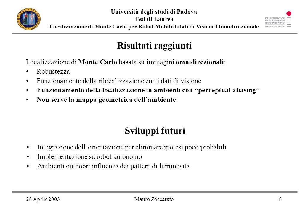 28 Aprile 2003Mauro Zoccarato8 Università degli studi di Padova Tesi di Laurea Localizzazione di Monte Carlo per Robot Mobili dotati di Visione Omnidi