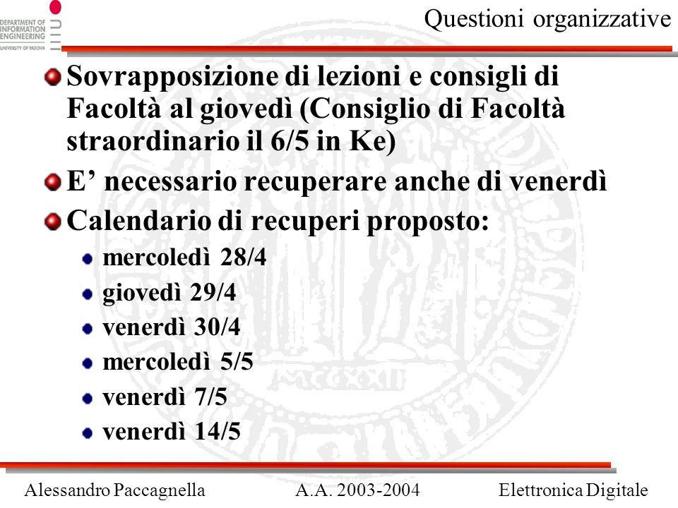 Alessandro PaccagnellaA.A. 2003-2004Elettronica Digitale Questioni organizzative Sovrapposizione di lezioni e consigli di Facoltà al giovedì (Consigli