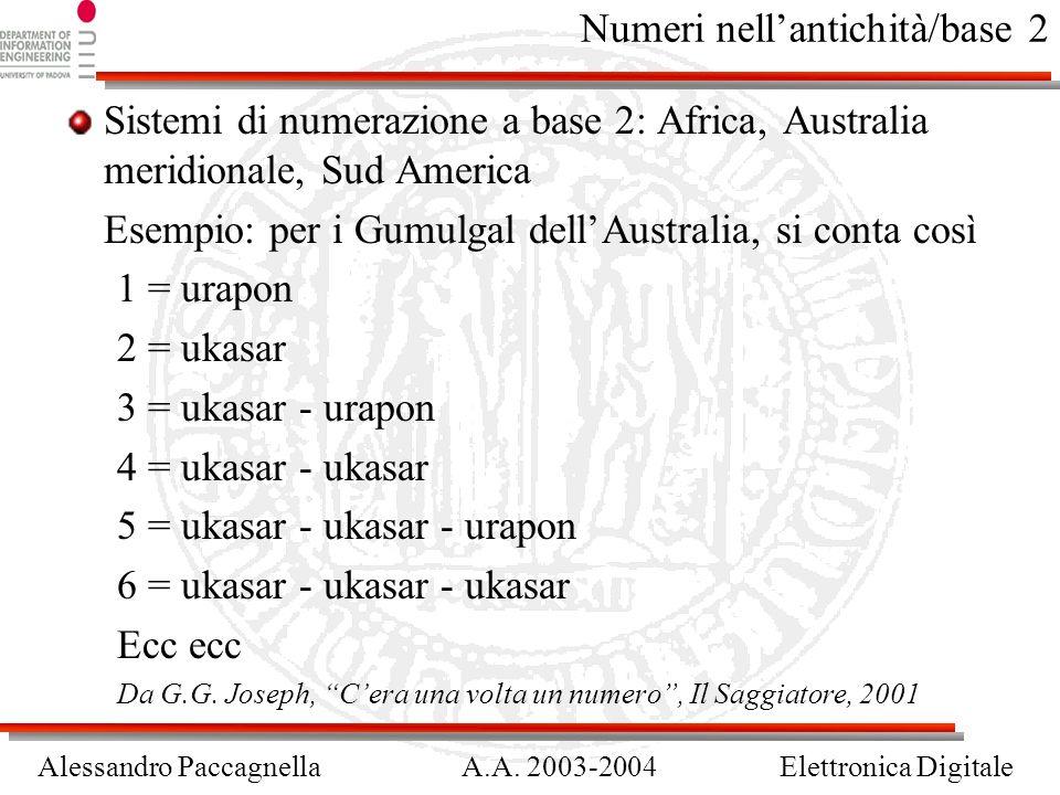 Alessandro PaccagnellaA.A. 2003-2004Elettronica Digitale Numeri nellantichità/base 2 Sistemi di numerazione a base 2: Africa, Australia meridionale, S