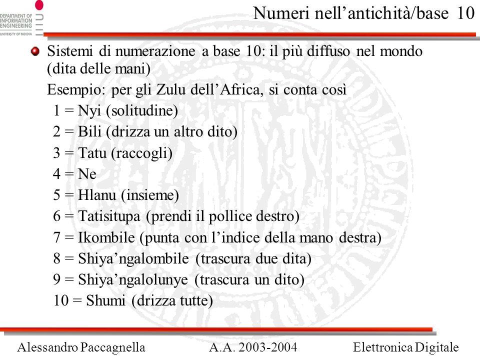 Alessandro PaccagnellaA.A. 2003-2004Elettronica Digitale Numeri nellantichità/base 10 Sistemi di numerazione a base 10: il più diffuso nel mondo (dita