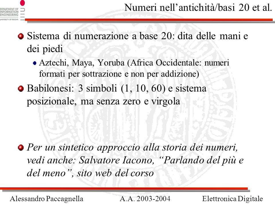 Alessandro PaccagnellaA.A. 2003-2004Elettronica Digitale Numeri nellantichità/basi 20 et al. Sistema di numerazione a base 20: dita delle mani e dei p