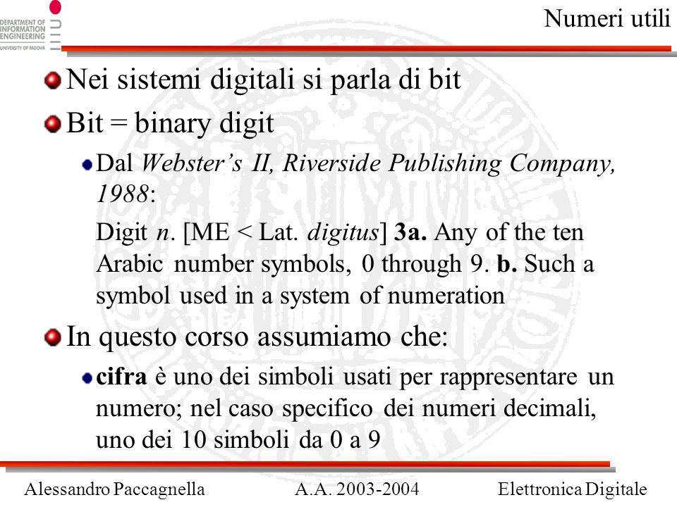 Alessandro PaccagnellaA.A. 2003-2004Elettronica Digitale Numeri utili Nei sistemi digitali si parla di bit Bit = binary digit Dal Websters II, Riversi