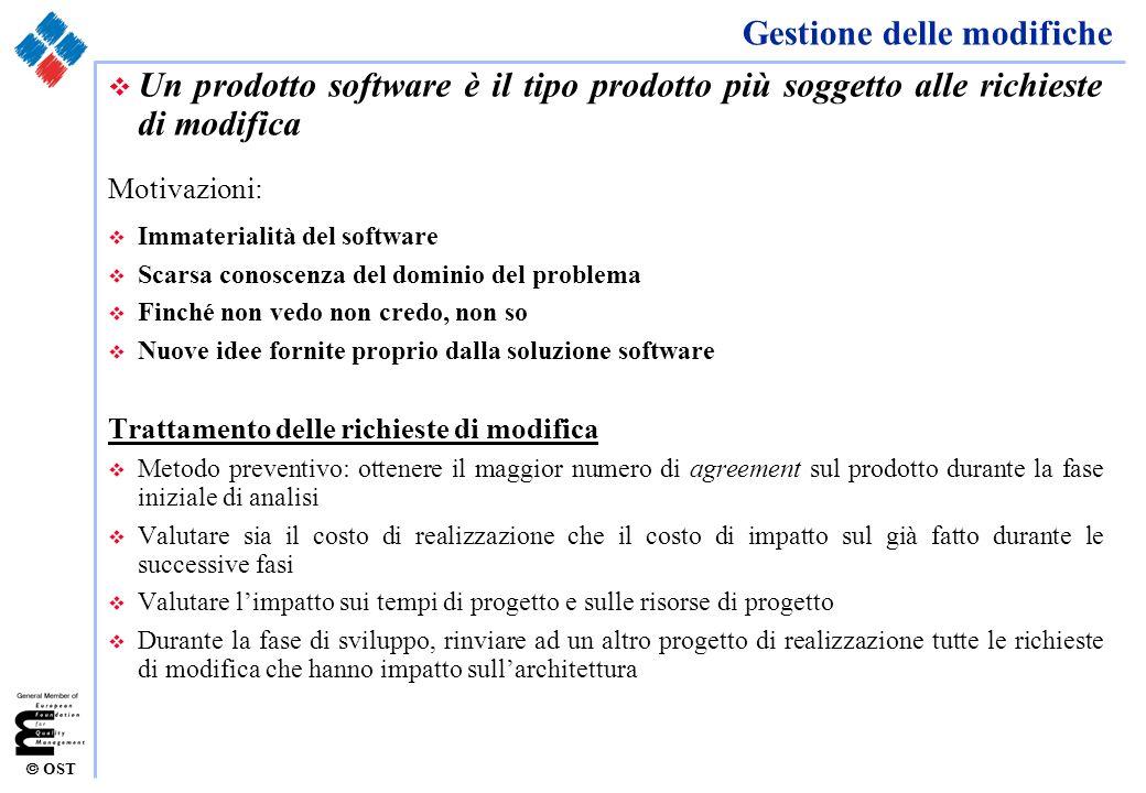 OST Gestione delle modifiche v Un prodotto software è il tipo prodotto più soggetto alle richieste di modifica Motivazioni: v Immaterialità del softwa