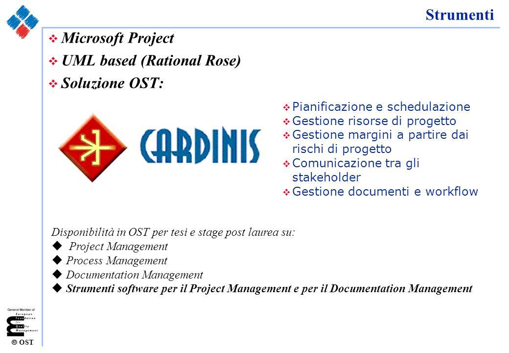 OST Strumenti v Microsoft Project v UML based (Rational Rose) v Soluzione OST: v Pianificazione e schedulazione v Gestione risorse di progetto v Gesti