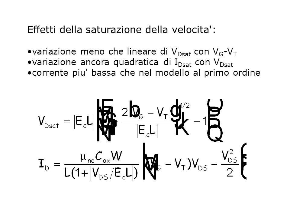 Effetti della saturazione della velocita': variazione meno che lineare di V Dsat con V G -V T variazione ancora quadratica di I Dsat con V Dsat corren