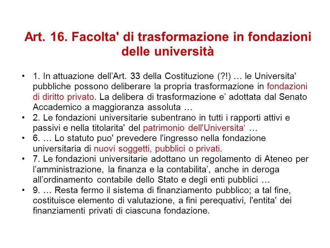 Art. 16. Facolta' di trasformazione in fondazioni delle università 1. In attuazione dellArt. 33 della Costituzione (?!) … le Universita' pubbliche pos