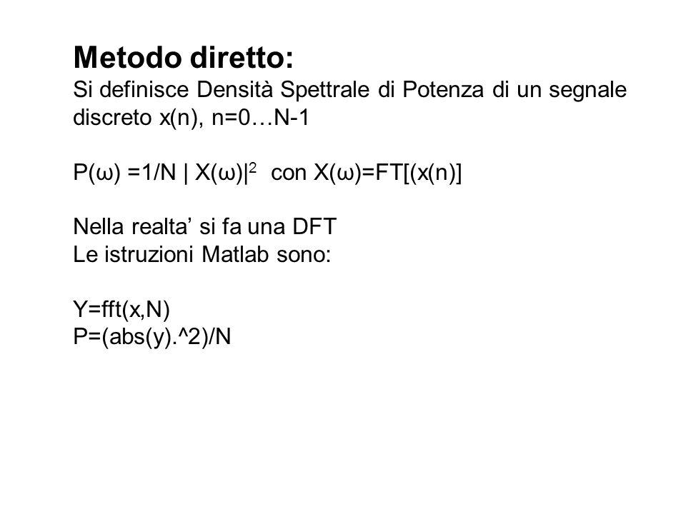 Esempio di implementazione in Matlab su Segnale Simulato %Calcolo densita spettrale di potenza mediante DFT file Spettrogramma.m T=2.5; %tempo di osservazione Fs=1000; t=(0:1/Fs:T-1/Fs) ; N=length(t); x=sin(2*pi*30*t)+sqrt(0.5)*randn(N,1); %sinusoide a 30 Hz con sovrapposto rumore gussiano %a media nulla e varianza 0.5 subplot(211) plot(t,x) xlabel( tempo(sec) ) title( segnale ) FTx=fft(x,N); S=(abs(FTx).^2)/N; f_FT=(0:Fs/N:Fs-Fs/N); S=S(1:N/2); %elimino la seconda meta delle stime f_FT=f_FT(1:N/2); %elimino la seconda meta dei campioni subplot(212) plot(f_FT,S) axis([0, Fs/2, 0, max(abs(S))]) xlabel( frequenze(Hz) ) title( densita spettrale di potenza )