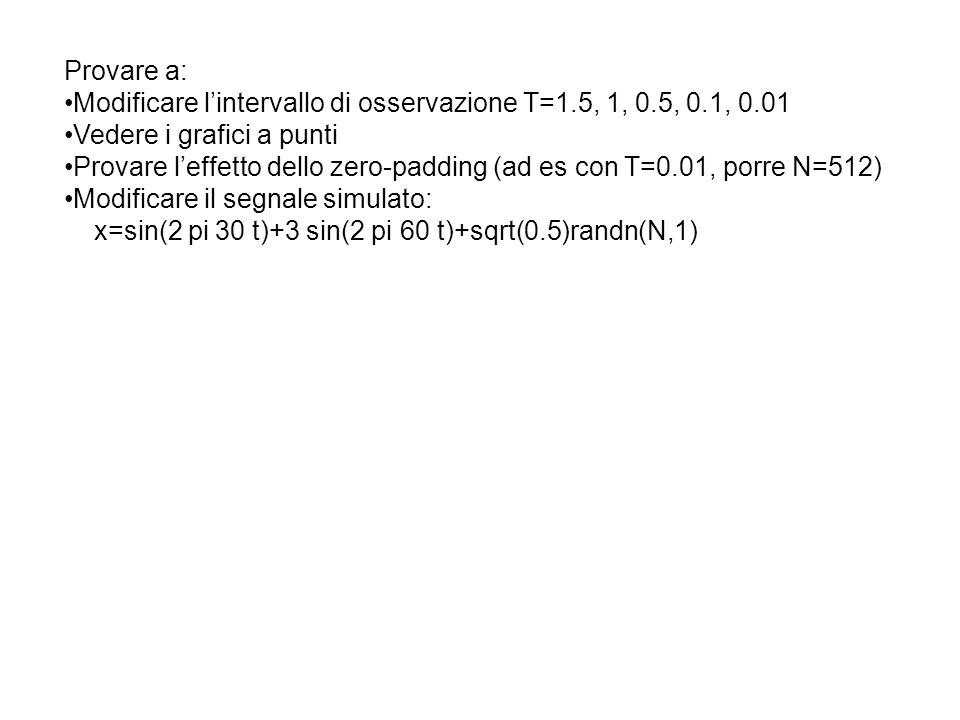 Metodo indiretto: P(ω) =FT[R x (m)] In pratica si hanno solo N campioni da cui si ottiene solo una stima di R x (m) per m=0,1,….M con M<<N Sfruttando poi la parita della funzione: R x (m) = R x (-m) e nulla per |m|>M Si ricorda che