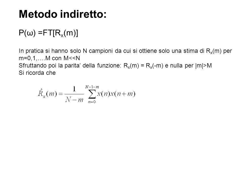 Esempio di implementazione in Matlab su Segnale Simulato %Calcolo densita spettrale di potenza: metodo indiretto %(mediante stima autocorrelazione) file MetodoIndiretto.m T=2.5; Fs=1000; t=(0:1/Fs:T-1/Fs) ; N=length(t); x=sin(2*pi*30*t)+sqrt(0.5)*randn(N,1); %sinusoide a 30 Hz con sovrapposto rumore gussiano %a media nulla e varianza 0.5 subplot(211) plot(t,x) xlabel( tempo(sec) ) title( segnale ) M=round(N/5); autocorr=zeros(2*M+1,1); %stima della funzione di autocorrelazione for m=0:M somma=0; for j=0:(N-1-m) somma=somma+x(j+1)*x(m+j+1); end autocorr(M+1+m)=somma/(N-m); end for i=1:M autocorr(i)=autocorr(2*M+2-i); %per parita segnale diventano 2M+1 campioni end
