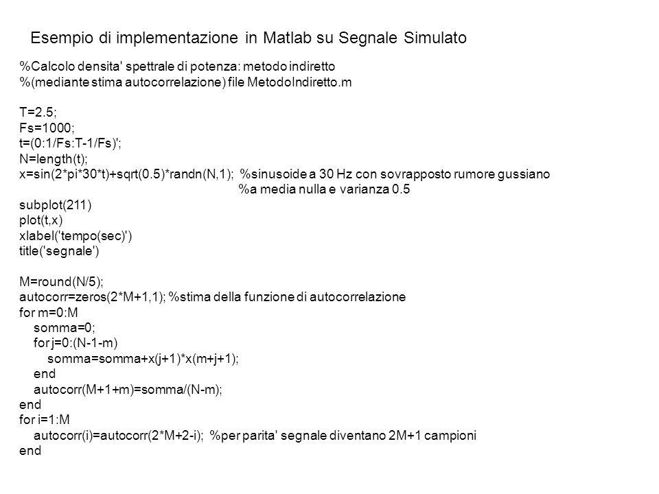 Esempio di implementazione in Matlab su Segnale Simulato %Calcolo densita' spettrale di potenza: metodo indiretto %(mediante stima autocorrelazione) f