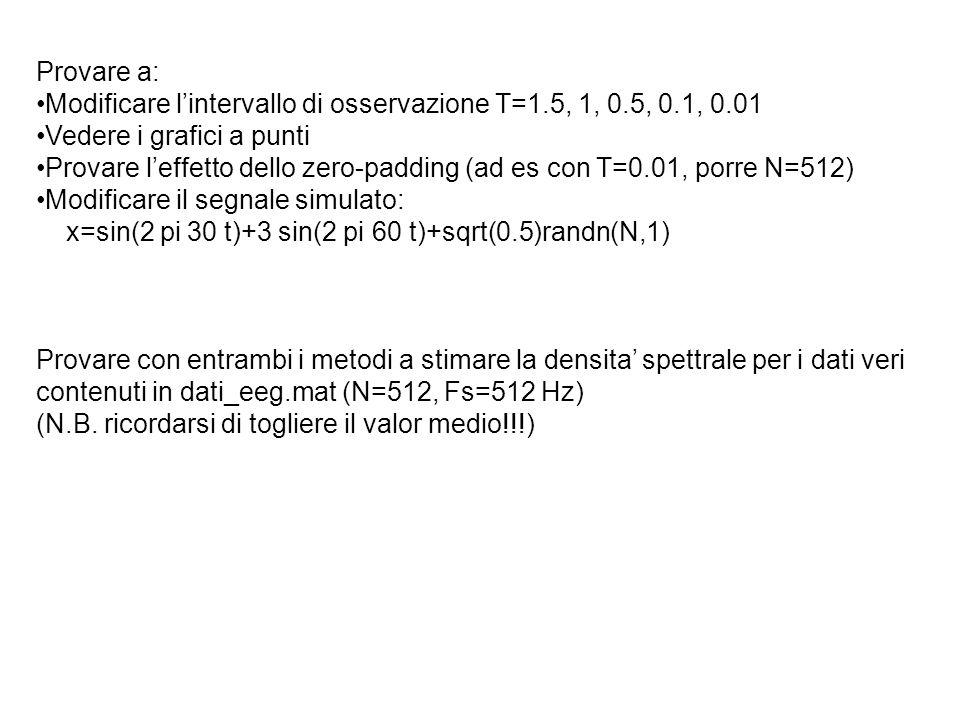 Provare a: Modificare lintervallo di osservazione T=1.5, 1, 0.5, 0.1, 0.01 Vedere i grafici a punti Provare leffetto dello zero-padding (ad es con T=0
