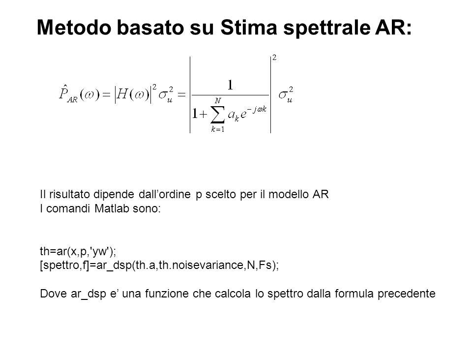Metodo basato su Stima spettrale AR: Il risultato dipende dallordine p scelto per il modello AR I comandi Matlab sono: th=ar(x,p,'yw'); [spettro,f]=ar