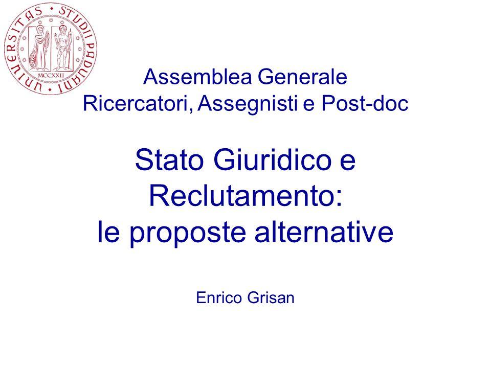 Stato Giuridico e Reclutamento: le proposte alternative Enrico Grisan Assemblea Generale Ricercatori, Assegnisti e Post-doc