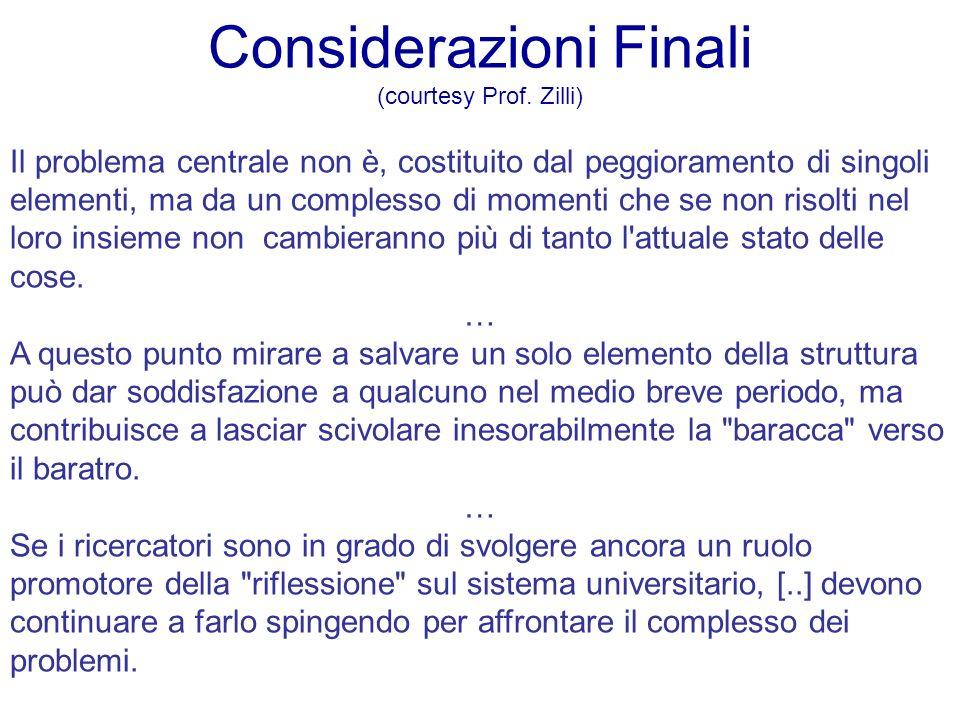 Considerazioni Finali (courtesy Prof. Zilli) Il problema centrale non è, costituito dal peggioramento di singoli elementi, ma da un complesso di momen