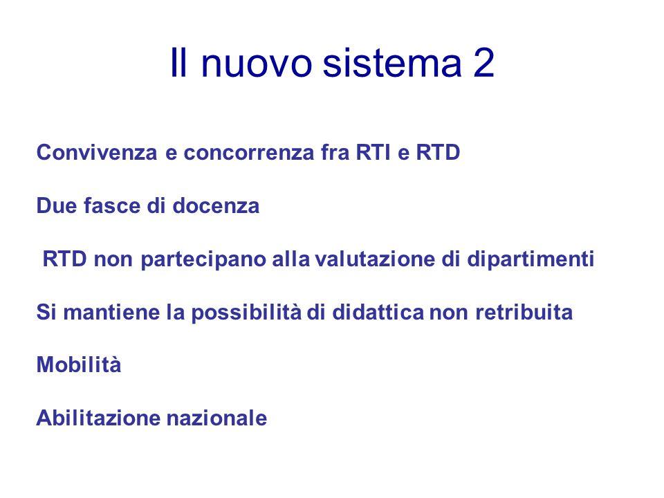 Il nuovo sistema 2 Convivenza e concorrenza fra RTI e RTD Due fasce di docenza RTD non partecipano alla valutazione di dipartimenti Si mantiene la possibilità di didattica non retribuita Mobilità Abilitazione nazionale