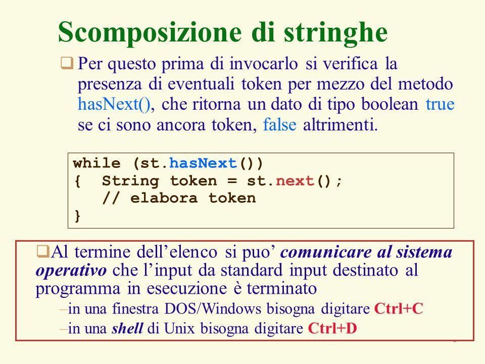 5 Scomposizione di stringhe Per questo prima di invocarlo si verifica la presenza di eventuali token per mezzo del metodo hasNext(), che ritorna un da