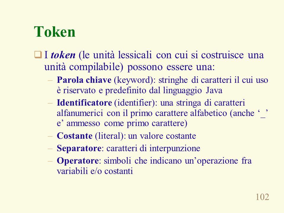 102 Token I token (le unità lessicali con cui si costruisce una unità compilabile) possono essere una: –Parola chiave (keyword): stringhe di caratteri il cui uso è riservato e predefinito dal linguaggio Java –Identificatore (identifier): una stringa di caratteri alfanumerici con il primo carattere alfabetico (anche _ e ammesso come primo carattere) –Costante (literal): un valore costante –Separatore: caratteri di interpunzione –Operatore: simboli che indicano unoperazione fra variabili e/o costanti