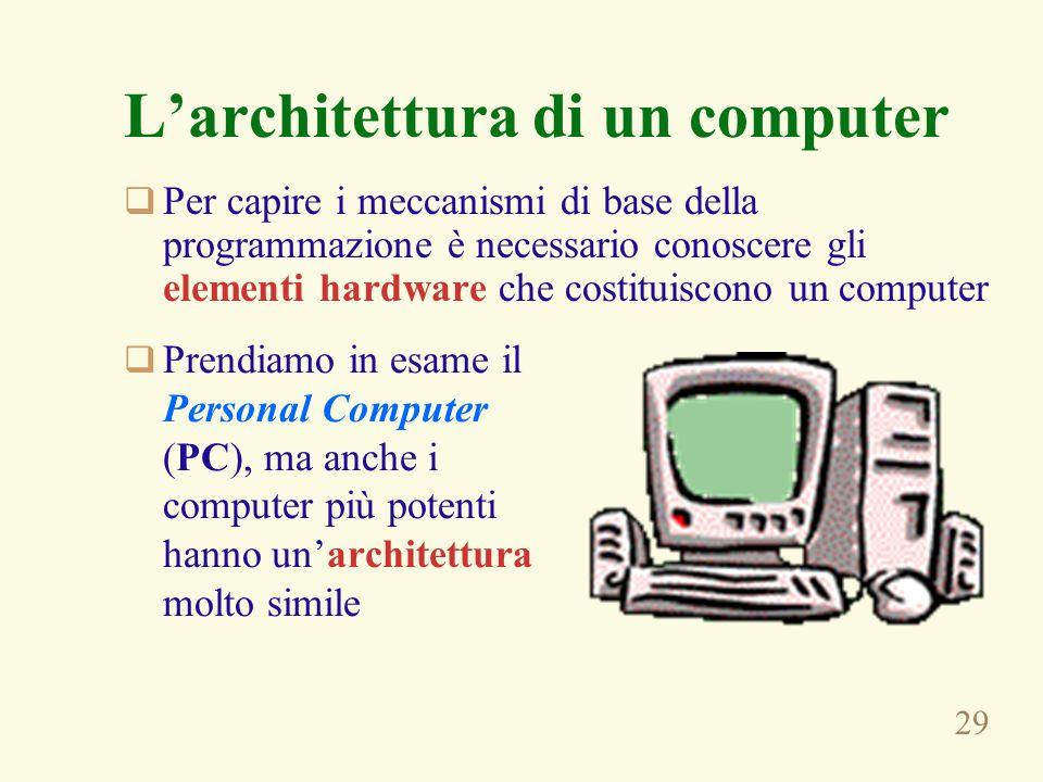 29 Larchitettura di un computer Per capire i meccanismi di base della programmazione è necessario conoscere gli elementi hardware che costituiscono un computer Prendiamo in esame il Personal Computer (PC), ma anche i computer più potenti hanno unarchitettura molto simile