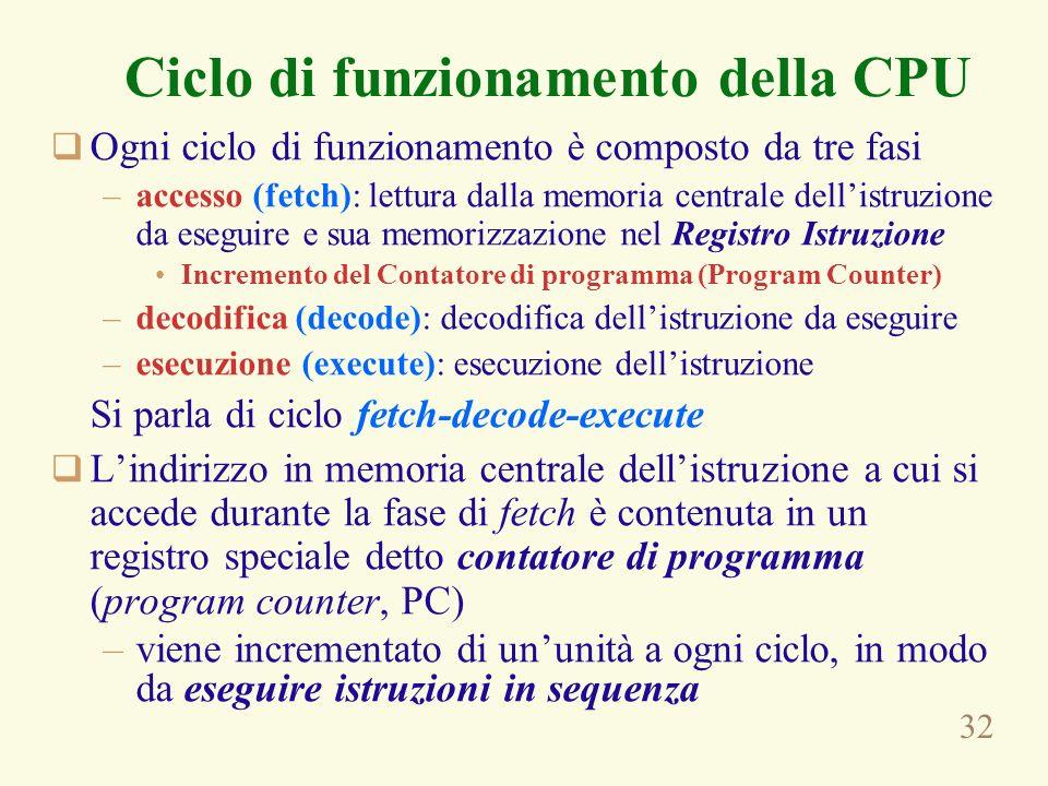 32 Ciclo di funzionamento della CPU Ogni ciclo di funzionamento è composto da tre fasi –accesso (fetch): lettura dalla memoria centrale dellistruzione da eseguire e sua memorizzazione nel Registro Istruzione Incremento del Contatore di programma (Program Counter) –decodifica (decode): decodifica dellistruzione da eseguire –esecuzione (execute): esecuzione dellistruzione Si parla di ciclo fetch-decode-execute Lindirizzo in memoria centrale dellistruzione a cui si accede durante la fase di fetch è contenuta in un registro speciale detto contatore di programma (program counter, PC) –viene incrementato di ununità a ogni ciclo, in modo da eseguire istruzioni in sequenza