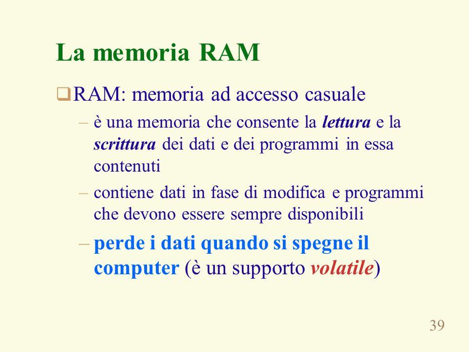 39 La memoria RAM RAM: memoria ad accesso casuale –è una memoria che consente la lettura e la scrittura dei dati e dei programmi in essa contenuti –contiene dati in fase di modifica e programmi che devono essere sempre disponibili –perde i dati quando si spegne il computer (è un supporto volatile)