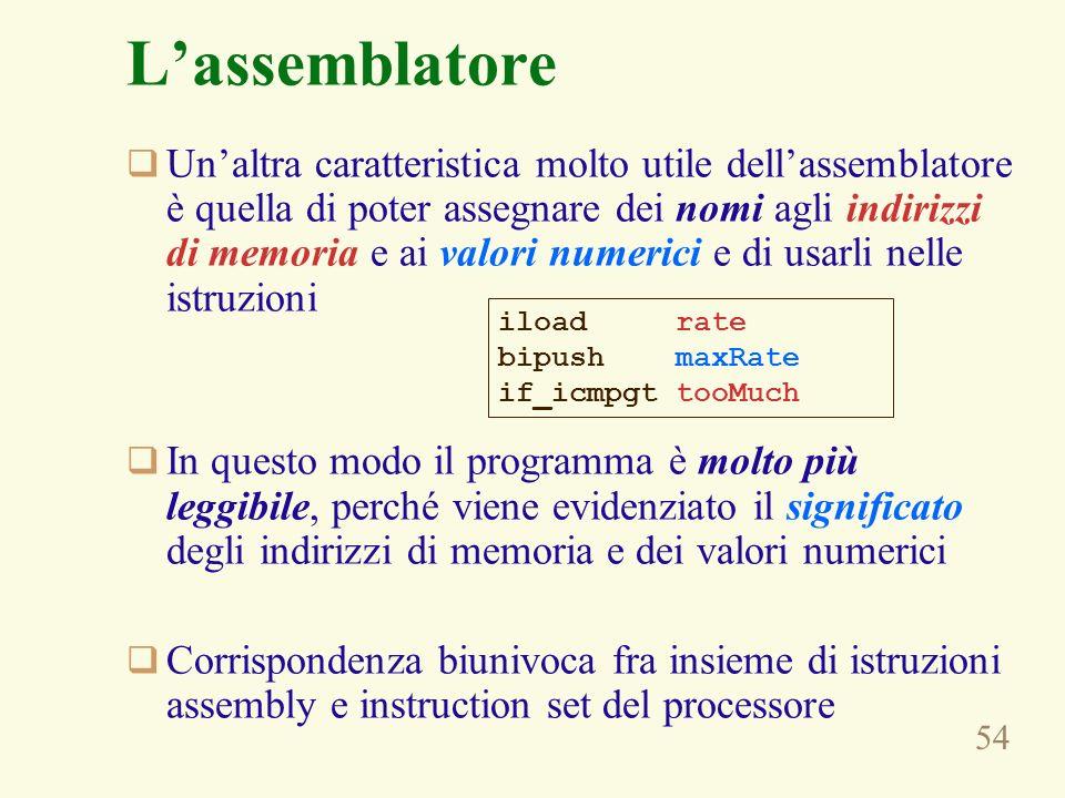 54 Lassemblatore Unaltra caratteristica molto utile dellassemblatore è quella di poter assegnare dei nomi agli indirizzi di memoria e ai valori numerici e di usarli nelle istruzioni In questo modo il programma è molto più leggibile, perché viene evidenziato il significato degli indirizzi di memoria e dei valori numerici Corrispondenza biunivoca fra insieme di istruzioni assembly e instruction set del processore iload rate bipush maxRate if_icmpgt tooMuch
